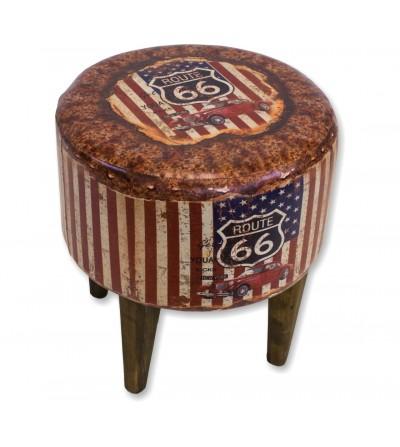 Leatherette print vintage stool