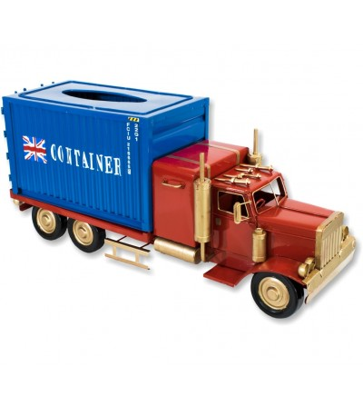 Red and blue tissue holder container truck