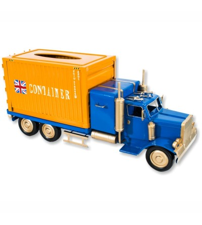 Blue and orange tissue carrier container truck