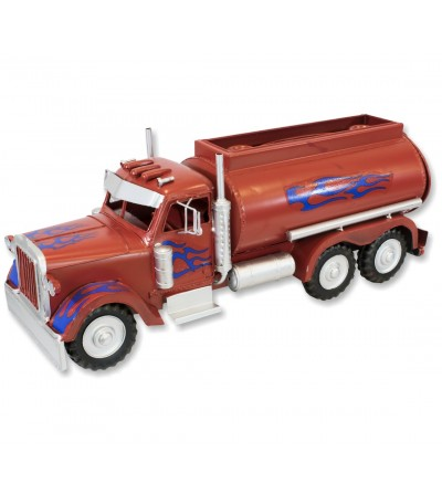 Red metallic tissue holder tanker truck