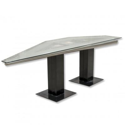 Mesa de aviação de metal e vidro