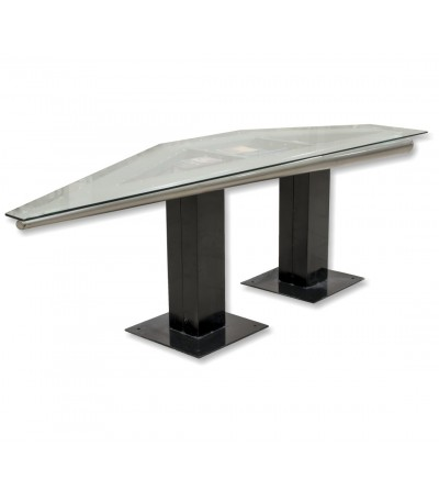 Metal and glass aviation table