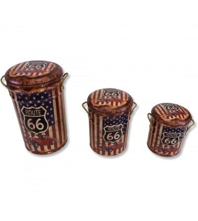 Set 3 gemusterte Vintage Hocker