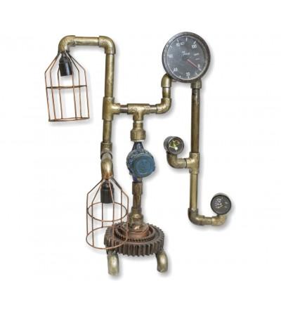 Lámpara vintage industrial con tuberías