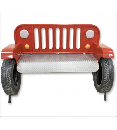 Red Jeep bench sofa