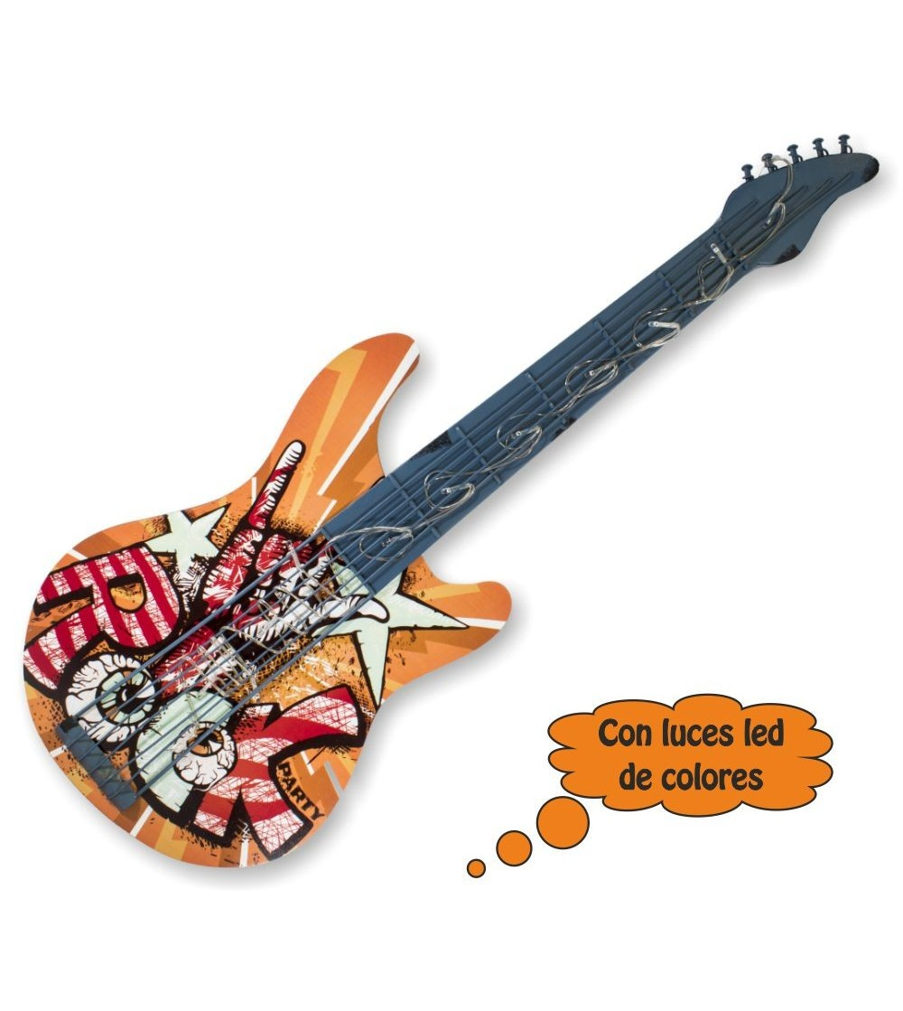 Guitarra decorativa com luzes led