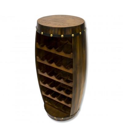 Wooden wine barrel bottle rack