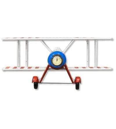 Etagère horloge avion tricolore