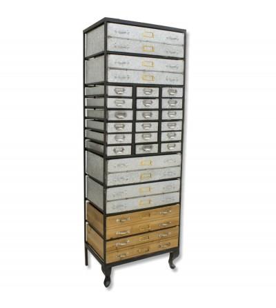 Cassettiera classificatore in metallo e legno