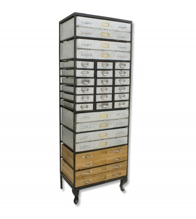 Gabinete de gaveta classificador de metal e madeira
