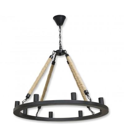 Lámpara redonda metal y cuerdas