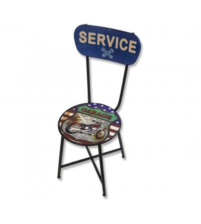 Cadeira de serviço vintage de metal para garagem