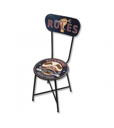 Cadeira de metal vintage com regras autênticas