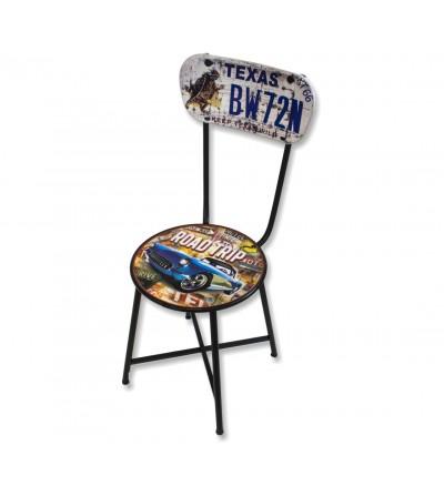 Cadeira de metal vintage Road Trip Texas