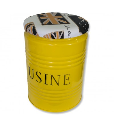 Industrial yellow jerrycan stool