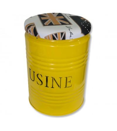 Taburete industrial bidón amarillo