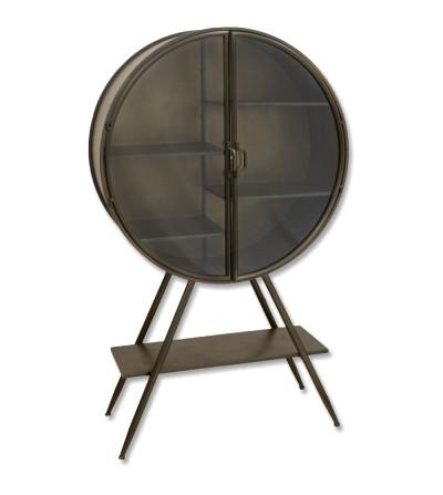 Expositor vintage de metal e vidro