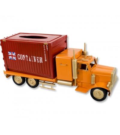 Caminhão recipiente porta-lenços laranja e vermelho