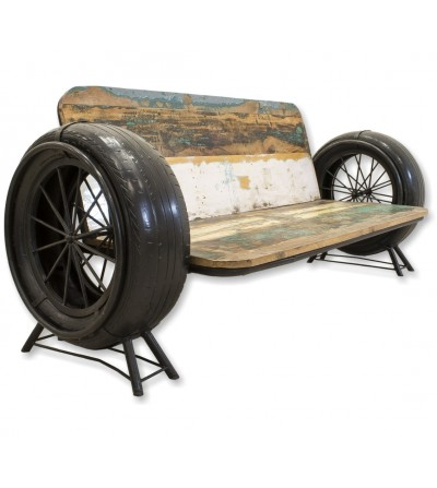 Vintage wooden and metal sofa with wheels