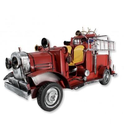 Camión de bomberos antiguo metálico decorativo rojo