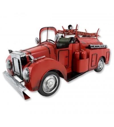 Vecchio camion dei pompieri del metallo decorativo rosso