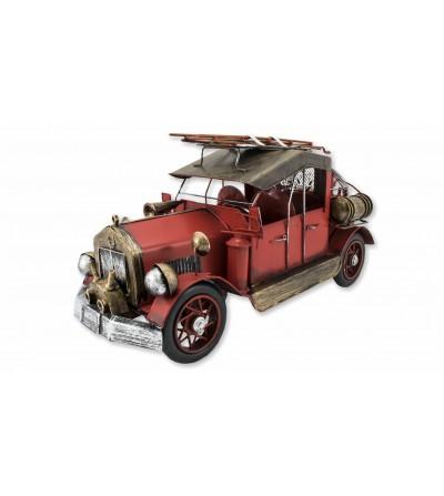 Caminhão de bombeiros antigo de metal decorativo vermelho