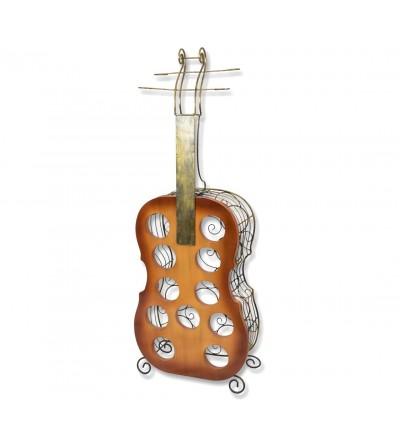 Wooden guitar wine rack
