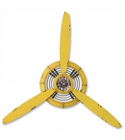 Metal wall plane propeller clock