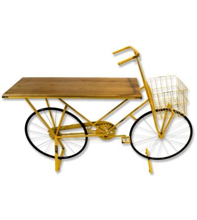 Bicicleta mostrador metalica amarilla
