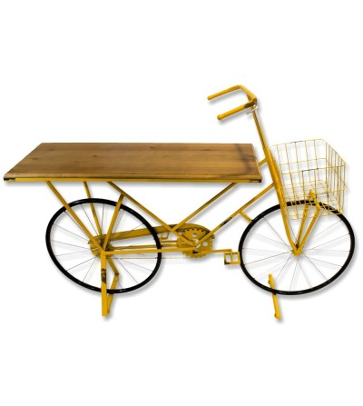 Gelber Fahrradständer aus Metall