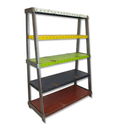 Decorative vintage industrial colored bookshelf