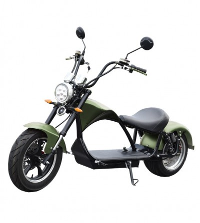 E-chopper registered electric motorcycle, 2000w, 20Ah. Green