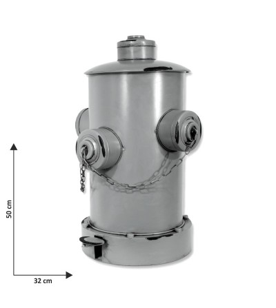 Papelera boca de incendios gris