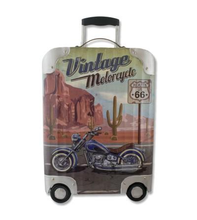 Decorative plate on metal vintage suitcase.
