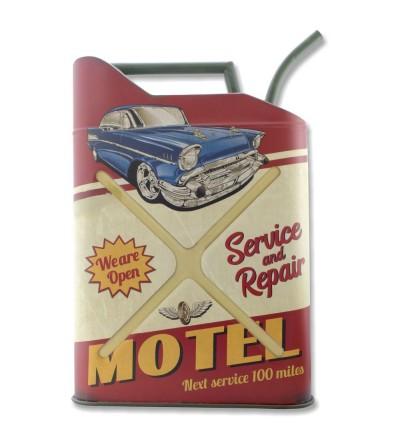 Decorative metal plate for vintage gasoline bottle.
