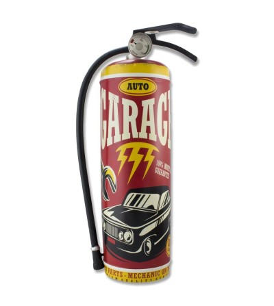 Decorative metal plate vintage fire extinguisher.