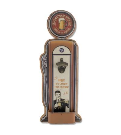 Decorative metal plate vintage gas pump with bottle opener.
