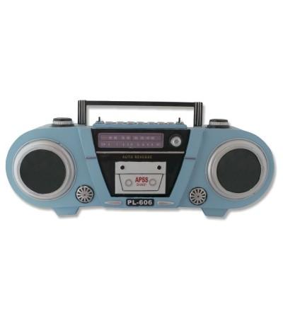 Radio Cassette Retro metálico celeste