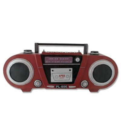 Radio Cassette Retro metálico rojo