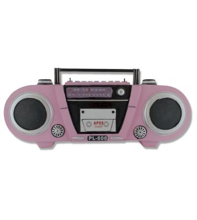 Radio Cassette Retro metálico rosa