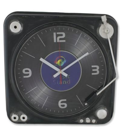 Black DJ turntable clock