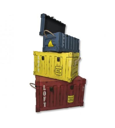 Setze 3 Holzbehälter