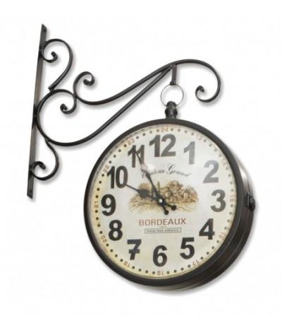 Black metallic railway clock