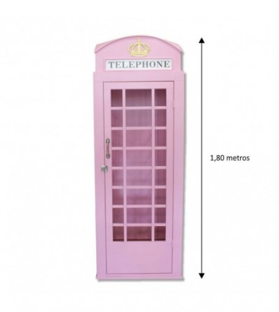 Cabina telefonica rosa vintage 1,80m