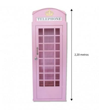 Cabina telefonica rosa vintage 2,20 m