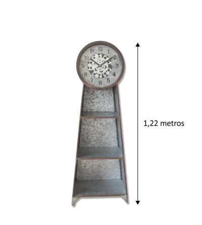 Mueble auxiliar galvanizado con reloj