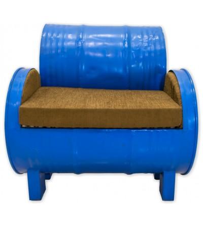 Canapé tonneau bleu en métal