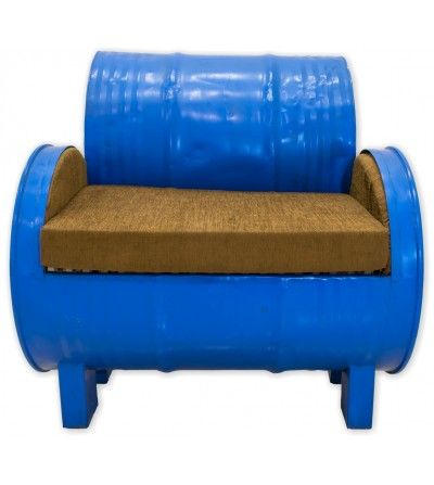 Sofa metalico barril azul