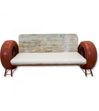 Sofá madera y metal ruedas vintage