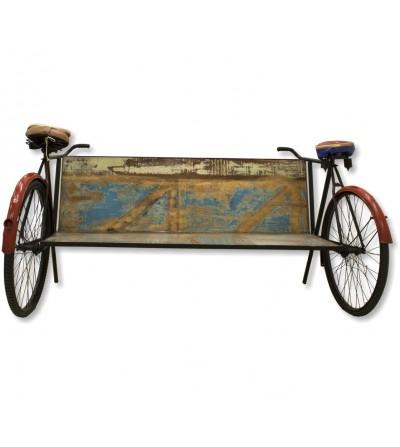Sillon vintage madera con bicicletas
